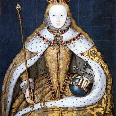 I. Erzsébet angol királynő (1533-1603) koronázási díszben
