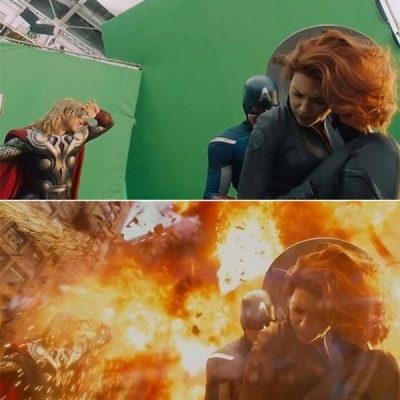 A Bosszúállók című 2012-es film robbanásos jelenete a valóságban és a kész filmen
