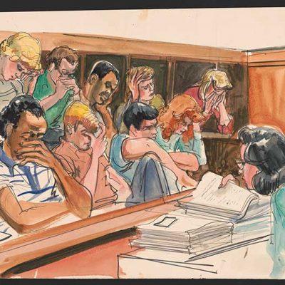 Az esküdtszék tagjai hallgatják az emberölés részleteit a tárgyaláson (1988)